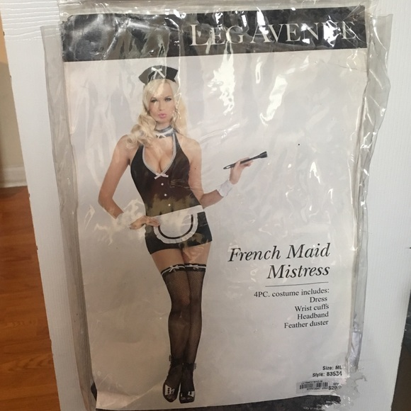 Leg Avenue Industrial Net//Fishnet French Maid Costume Thigh High Stockings O//S